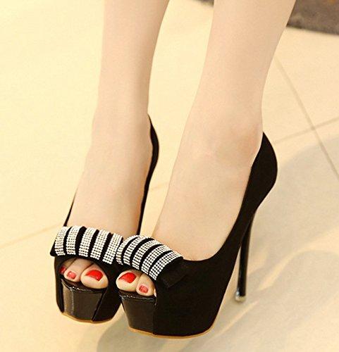 GTVERNH-black 8.5cm solo scarpe tacco scarpe con tacchi alti autunno sexy acqua esercitazione scarpe impermeabili tabella bocca di pesce superficiale bocca sola scarpa,35 Thirty-eight