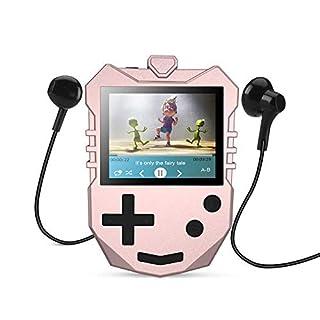 AGPTEK Kinder MP3 Player 8GB mit Lautsprecher, Musik Player mit 1.8 TFT Farbbildschirm, Sprachaufnahme, A-B Wiederholung und Spiele usw. unterstüzt bis zu 128GB Speicherkarte, Rosagold