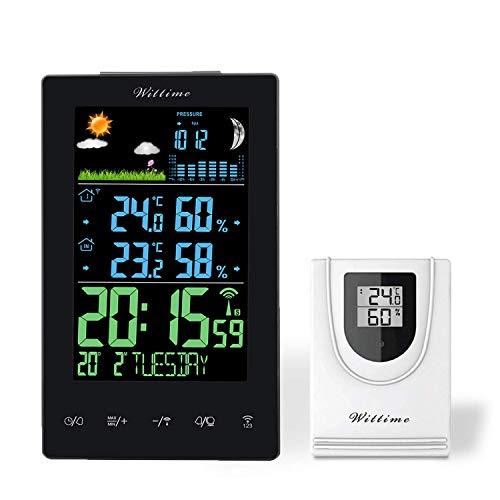 Wittime Funkwetterstation, Innen Außen Thermometer Wecker mit LCD Farbbildschirm, Temperatur- und...