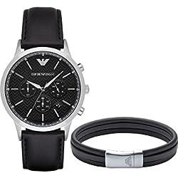 Emporio Armani Herren-Armbanduhr Analog Quarz One Size, schwarz, silber