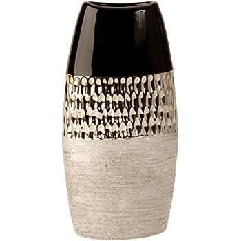 Dreamlight D/éco Moderne Vase Vase /à Fleurs Table Vase Vase en c/éramique Argent Brillant et Mat 11x20 cm /