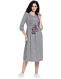 01fac88294593 Fabnest Woman's Western Dresses Check Cotton Dress with Pintucks Dress for  Women Western
