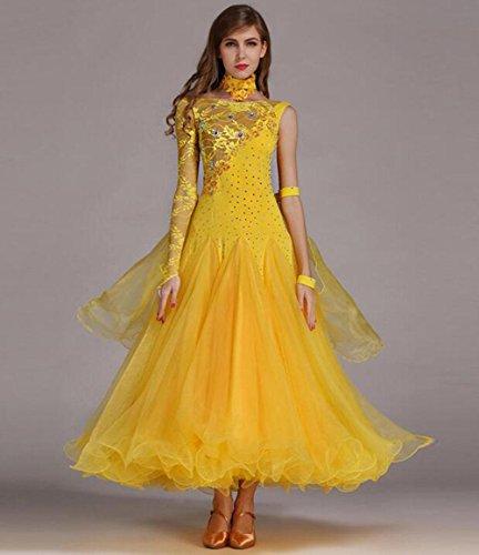 Tanz Wettbewerbs Kostüm Moderne - RENMEN Lace Stitching großen modernen Tanz Röcke GB Dance Wettbewerb Kleid, S