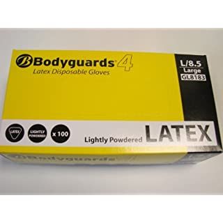 BODYGUARD 4 LATEX POWDERED GLOVES LARGE X 100
