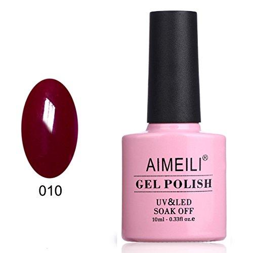 AIMEILI UV LED Gellack ablösbarer Gel Nagellack Dunkelrot Gel Polish - Red Vixen (010) 10ml