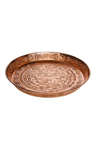 Orientalisches Rundes Tablett aus Metall Ferda 40cm groß Kupfer | Marokkanisches Vintage Teetablett mit Rand | Orient Serviertablett Rund Rutschfest | Orientalische Dekoration auf Dem gedeckten Tisch
