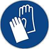 10 Aufkleber Handschutz benutzen - Handschuhe anziehen Aufkleber vorgestanzt