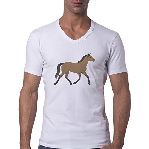 Horse Animal Pony Stud Brown Digital Herren V-Neck T-Shirt Weiß