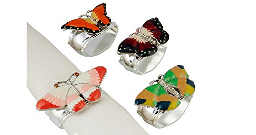 Hans turnwald Set Schmetterling Emaille 4Serviette Ring Strass Steine Silberbeschichtung Schmetterlinge Signiert in Geschenk-Box Silverplate Serviette Ring