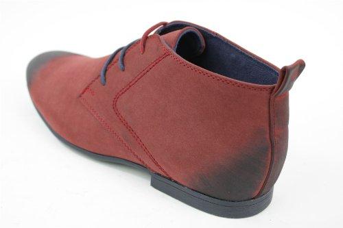 Herrenstiefel Wildleder Wüste Stiefel Rot Schwarz Retro Vintage Stil Rot