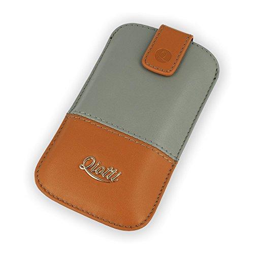 2-ton-tasche (QIOTTI QX-P-0150-03-L Q.Pouch Luxury Two Tone Tasche (Größe: L) braun/grau)