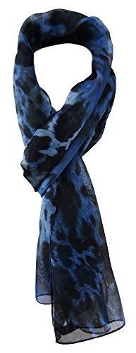 TigerTie Unisex Chiffon Schal in blau marine royal schwarz Leoparden Muster - Gr. 160 cm x 36 cm
