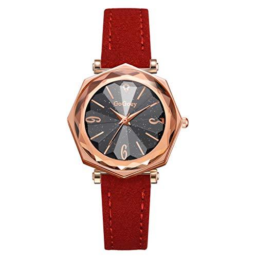 db32d882f1e2 Skryo Gogoey Fashion Rhombus Convex Glass Leather Relojes Mujeres Señoras Reloj  de cuarzo (I)