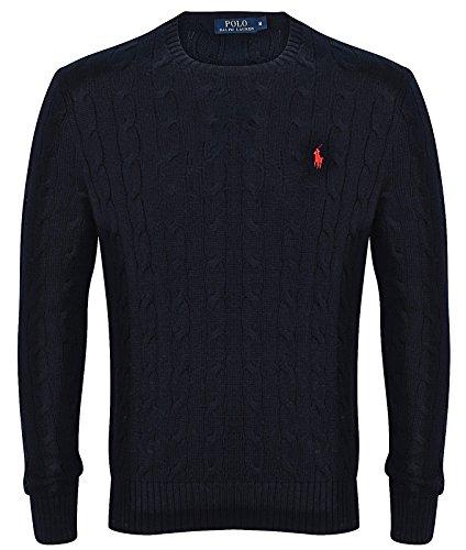 Ralph Lauren da uomo maglione girocollo a maglia, vari colori S-XXL Black Medium