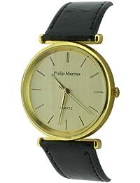 Philip Mercier SML56/D - Reloj analógico de cuarzo para hombre con correa de plástico, color negro