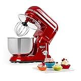 Klarstein Bella Elegance Küchenmaschine Rührmaschine, 1300W/1,7 PS in 6 Leistungsstufen mit Pulsfunktion, Planetarisches Rührsystem, 5 l Edelstahlschüssel, 3-tlg Silberfarbene Applikationen, rot