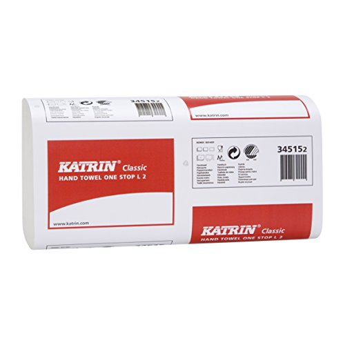 Price comparison product image 1 box of hand towel paper,  hand towels,  Katrin 'Classic One Stop',  L2 Metsä Tissue (345355),  size 20.6 x 34 cm,  2-ply,  white,  2.310 (21 x 110) sheets / box