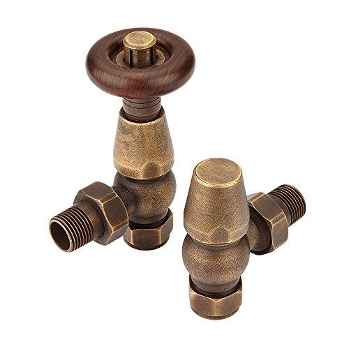 Hudson Reed Heizkörperventil Bentley Retro - Thermostatisches Winkelventil mit 15 mm Anschlüssen - Ventilpaar aus Messing mit Holzdetail in Bronze