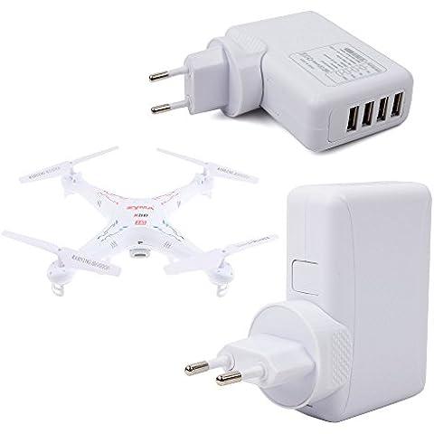 DURAGADGET Cargador De Viaje Blanco Para Dron Syma X11C / Air RTF / X5C-1 2.4G 6 / X5SW 4CH 2.4G / Explorers 2 / X5SW-1 Explorers - Con 4 Puertos USB Y Enchufe