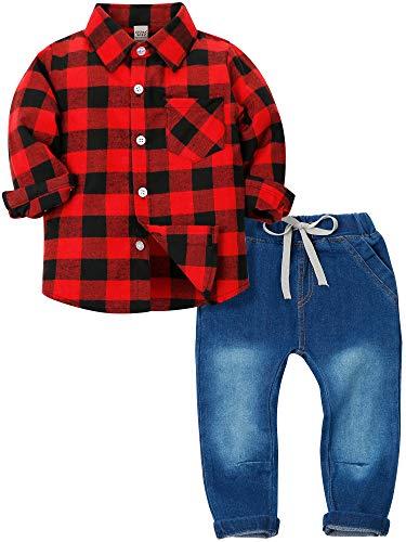Zoerea 2 Pezzi Camicia Quadri Maniche Lunghe e Pantaloni Jeans con Coulisse per Bambino Ragazzi Primavera Autunno Casuale Outfit Abbigliamento Set
