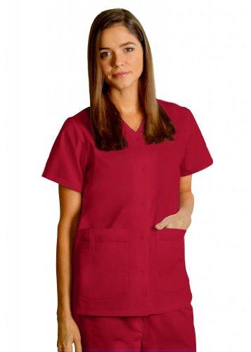 Groß Flare Scrubs Hose (Adar Oberteil, zwei Taschen, mit Druckknöpfen, einfarbig, erhältlich in 39Farben, rot, 604REDXL)