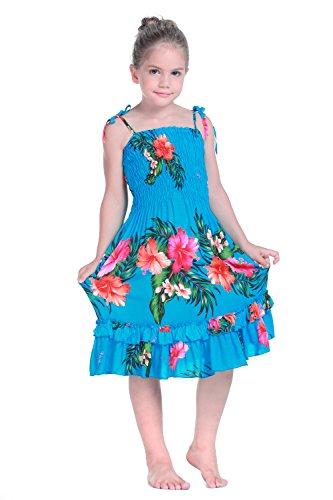 Nia-Elstico-Ruffle-Hawaiian-Luau-vestido-en-Turquesa-6-mes