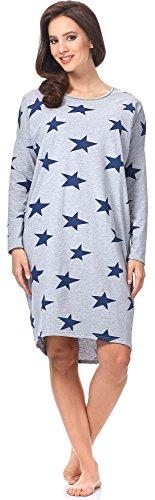 Italian Fashion IF Camicia da Notte per Donna Star 0115 Melange/Blu Scuro