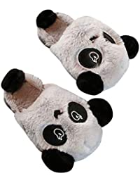 Minetom Maman Papa Enfant Famille Panda Mignon Chaussons Homme Femme Fille Garçon  Hiver Peluche Pantoufle Confort Chaud… 54c8e2c84133