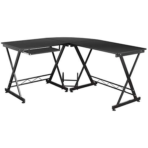 Homfa Schreibtisch Computertisch Ecktisch PC Tisch Bürotisch mit Tastaturauszug für gaming Büro L-Form groß schwarz 143x131x75cm -