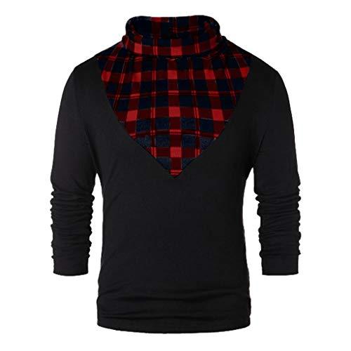Hniunew Kariertes Hemd Herren NäHpullover Winter-Sweatshirt Rollkragenpullover Futter Pullover Turtleneck Tshirt Tops Sport Herrenoberteile