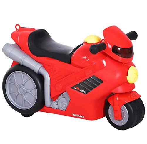 HOMCOM Maleta Correpasillos Niños con Forma de Moto Bolso de Taquilla de Viaje Infantil de Mano Bebé Ride-On con 4 en 1 para los Niños Mayores de 3 Años