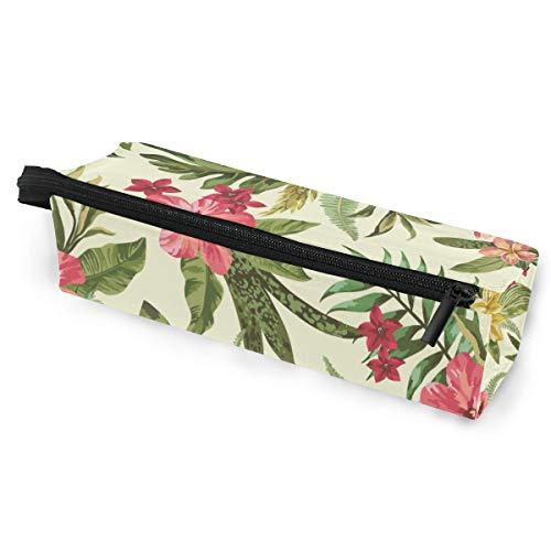 Pencil Bag Case Sonnenbrillen exotisch mit Blättern und Blumen Jungle Cosmetic Students Stationery Pouch Reißverschluss für Mädchen Jungen