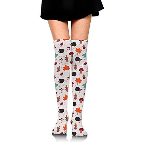 CVDFVFGB Women's Hedgehog Maple Leaf Casual Crew Top Socks Knee Long High Socks Womens Hedgehog