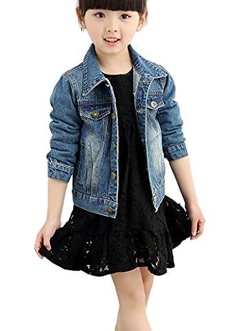 YoungSoul Veste en jean garçon filles - Manches longues - Manteau printemps automne pour Enfant Bleu