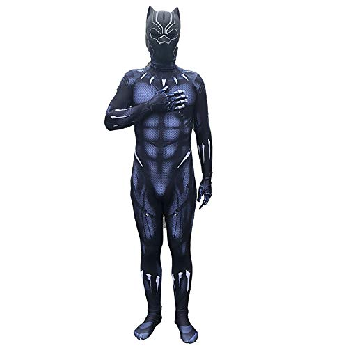 Kinder Erwachsener Cosplay Kostüm Black Panther Superhelden-Set Halloween Onesies Mottoparty Karneval Strumpfhosen,Adult-XXXL