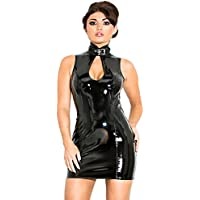 Honour Women's Sexy Mini Dress PVC with Cleavage Keyhole and Mandarin Collar