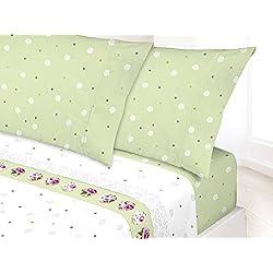 Manterol Juego Sábanas Completo Fresh 272 con Motivo Floral y Círculos. Cama 150cm Color Verde