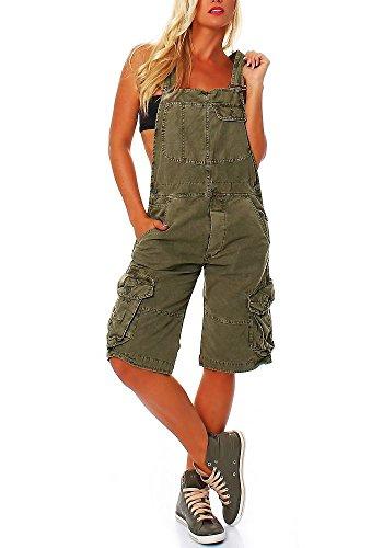 Jet Lag Damen Overall Shorts mit Brusttasche mit Brusttasche Capulet Olive M (Damen-jets)