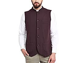 Hypernation Burgundy Color Nehru Jackets For Men