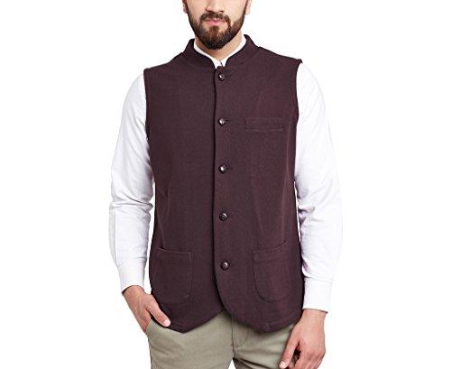 Hypernation Burgundy Color Nehru Jackets For Men