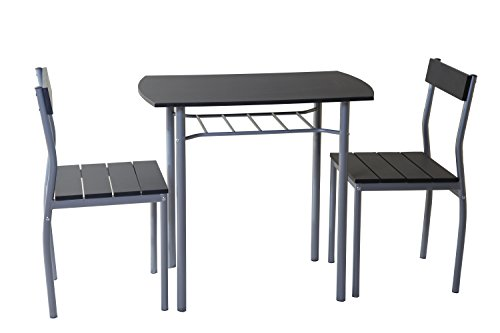 ts-ideen 3-teilige Essgruppe 3er Set Esstisch Küchentisch mit Stühlen aus Alugestell + MDF in silber und schwarz 76 x 83 cm für Esszimmer Küche
