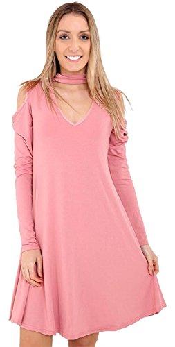Neu Damen Plain Choker Hals Kalt Schnitt Aus Schulter Flared Schaukel Kleid Top 36-54 Rose Pink