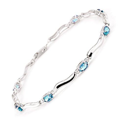 QP joailliers naturel & Diamant Topaze bleue Bracelet en or blanc 9carats, 2.15Carats Coupe ovale-1505W