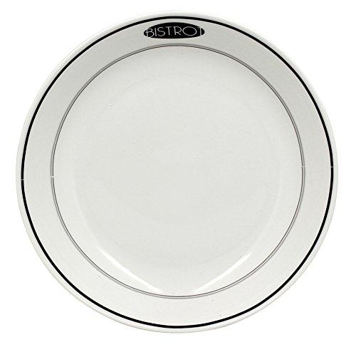 The Kitchenette - lot de 4 assiette creuse 21cm en porcelaine decor bistrot blanche