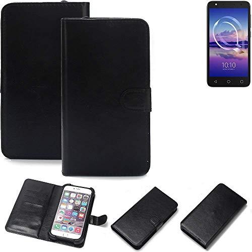 K-S-Trade 360° Wallet Case Handyhülle für Alcatel U5 HD Single SIM Schutz Hülle Smartphone Flip Cover Flipstyle Tasche Schutzhülle Flipcover Slim Bumper schwarz, 1x