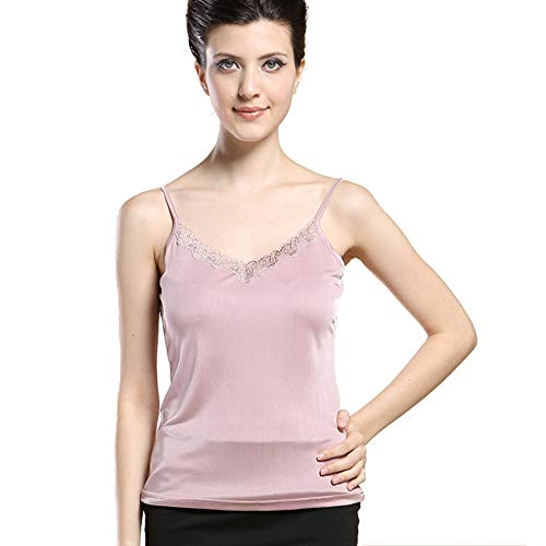 Forever Angel Damen Unterhemd Stricktops Shirt mit Spitze 100% Reine Seide Rosa Gr??e M -