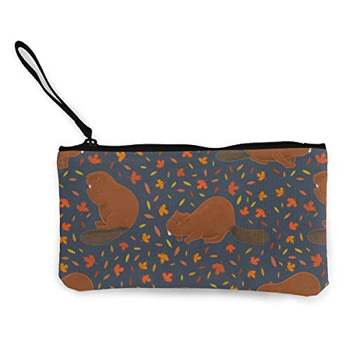 Beavers On Navy Multifunctional Portable Canvas Coin Purse Phone Pouch Cosmetic Bag,Zippered Wristlets Bag