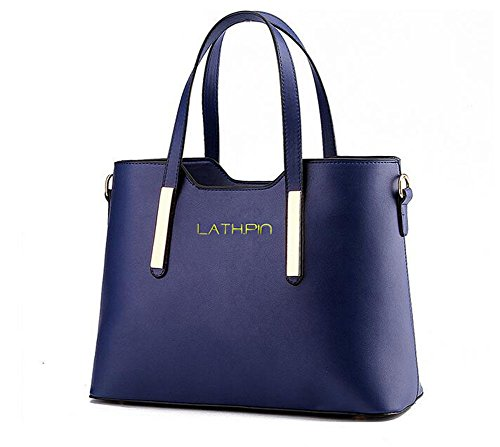 Borse a Mano Donna Borsa a Tracolla in Pelle PU Borsetta Shopper Pu Leather Handbag - LATH.PIN Blu