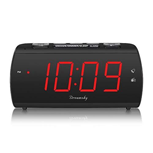 Dreamsky Digitaler Radiowecker FM mit USB-Ladeanschluss, Lauter Alarm, Großes LED-Display, Dimmer, Snooze, Schlaf-Timer, Kopfhörerbuchse, 12/24-Stunden, Tischuhr Netzbetrieben (Schwarz)