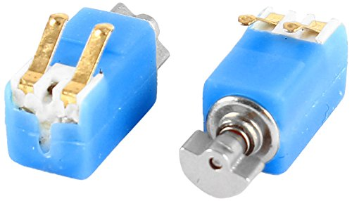 Uxcell DC 3V 2000RPM Mini Micro Vibration Motor, 4 6mm x 4 8mm, 2 Pcs, Blue